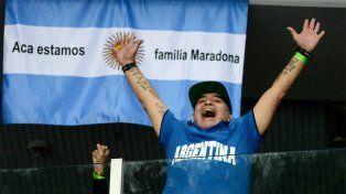 Maradona fue el hincha número uno argentino del equipo de Copa Davis en Zagreb.