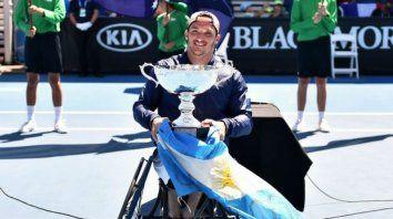 El tenista cordobés celebra la conquista en Australia.