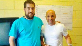 Sampaoli junto al cantante Patricio Fontanet (foto de archivo).