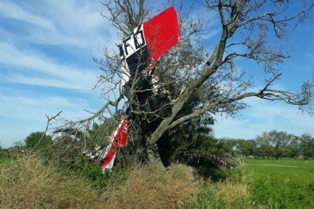 El avión Cesna C 130 quedó incrustado en un árbol.