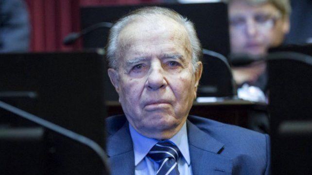 Ex presidente. Menem está en el banquillo de los acusados.