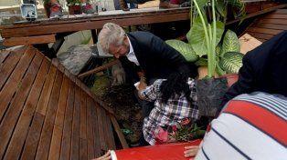Accidente. El ministro Rogelio Frigerio se cayó con el deck.
