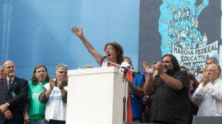 La titular de Ctera, Sonia Alesso, en la Marcha Federal Educativa. (Foto de archivo)