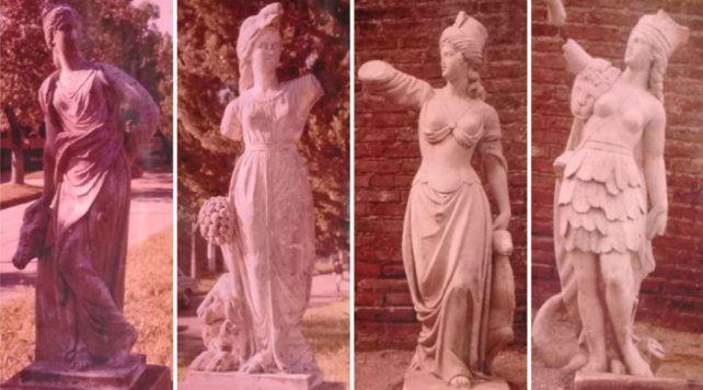 El conjunto. Las cuatro estatuas de Victoria. A la izquierda