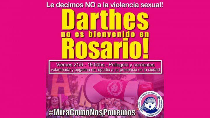 Convocan a manifestarse en repudio a la presencia de Darthés en Rosario