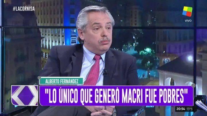 Alberto Fernández estuvo anoche en el programa La cornisa que se emite por América.