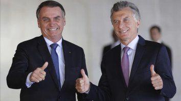 Los presidentes de Brasil, Jair Bolsonaro, y de Argentina, Mauricio Macri.