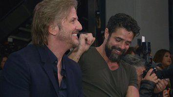 Facundo Arana y Luciano Castro en la presentación de la tira de Telefé, Pequeña Victoria.
