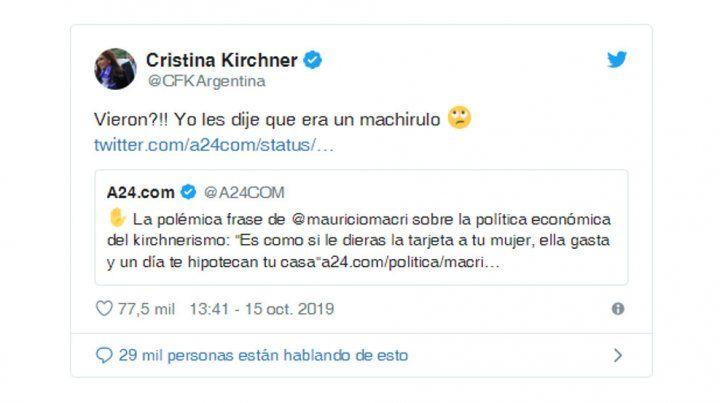 Cristina volvió a tildar de machirulo al presidente Macri