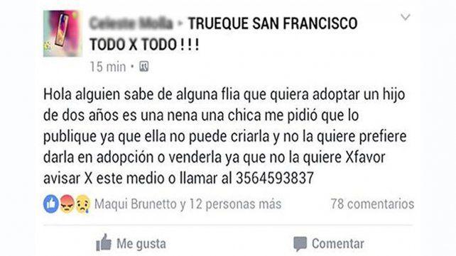 Una publicación en Facebook donde ofrecían en venta una niña generó polémica