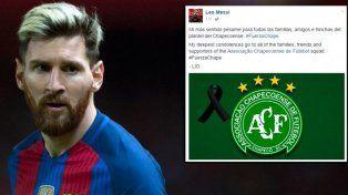 Messi manifestó su pésame por la tragedia aérea de Chapecoense