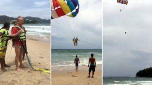 Un turista se cayó de un paracaídas y murió: la esposa grabó todo