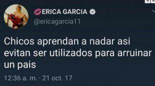 Érica García tuiteó sobre Maldonado y se ganó el repudio de muchos