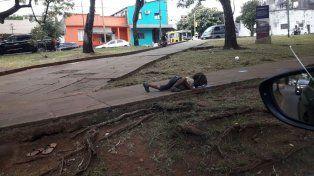 Cruda imagen: una nena misionera tomó agua de la calle