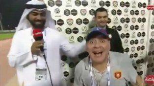 El festejo alocado de Maradona en Emiratos Árabes Unidos