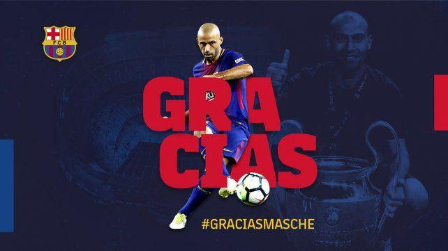 Barcelona oficializó la salida de Javier Mascherano