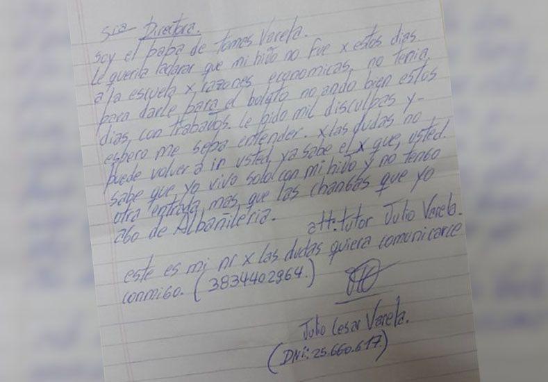 Emotiva carta de un papá a un colegio: No tengo plata para el boleto de mi hijo