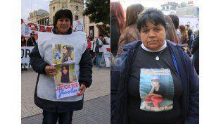 Con fe. Gabriela Monzón marchó por su hija en Paraná. Fortaleza. Rosa Blanco confía en la labor de las autoridades. (Fotos: UNO/Diego Arias)