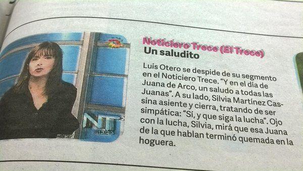 La escueta disculpa del diario Clarín a la periodista de canal Trece