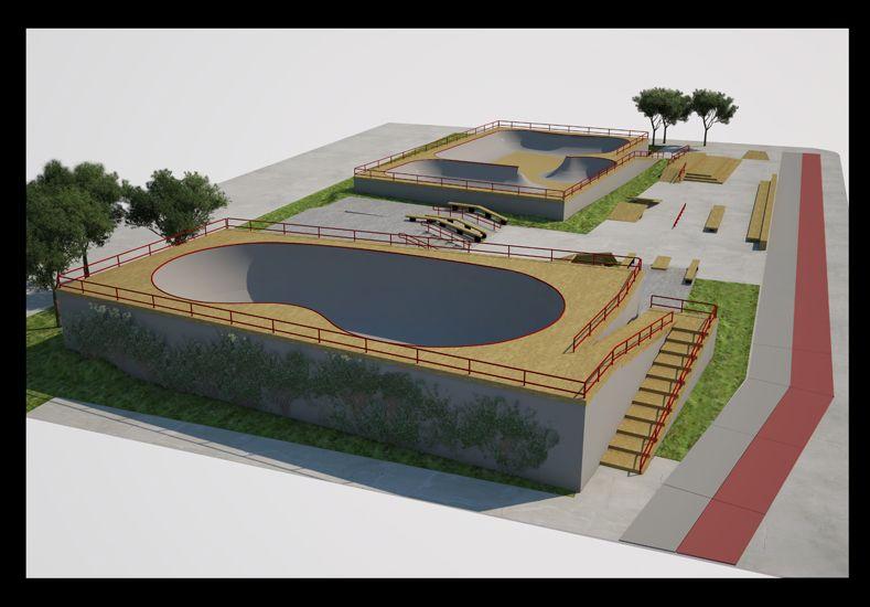 El skatepark tendrá una extensión de 1.200 metros cuadrados. Imagen gentileza Martín Pibotto.