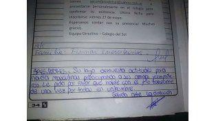 Nota discriminadora: según la Directora la escribieron dos alumnos
