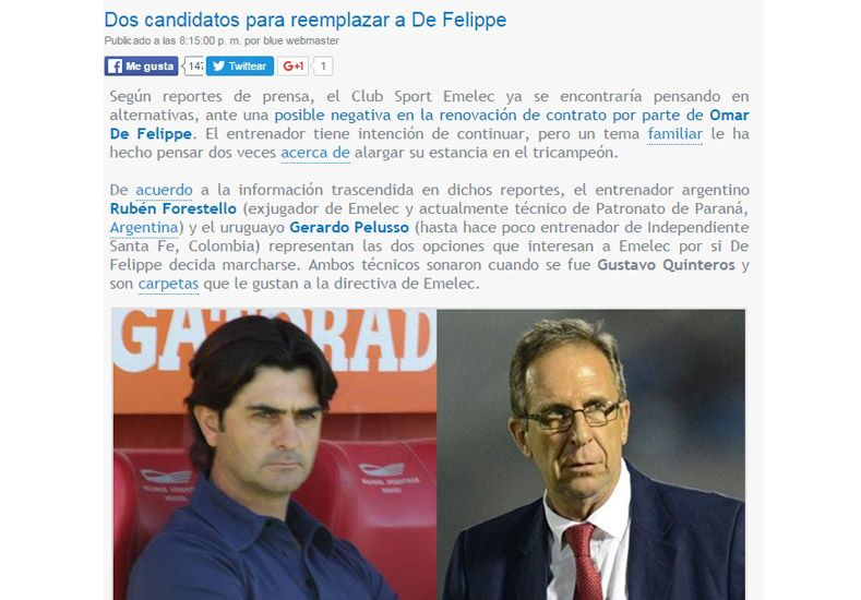 Se menciona al Yagui como una posibilidad para sustituir a De Felippe en el conjunto Eléctrico.