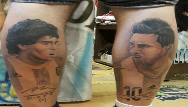 Un cordobés se tatuó a Maradona y a Messi
