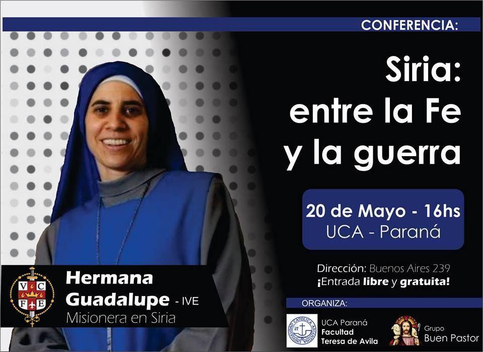 La Hermana Guadalupe hablará en Paraná sobre la vida en Siria
