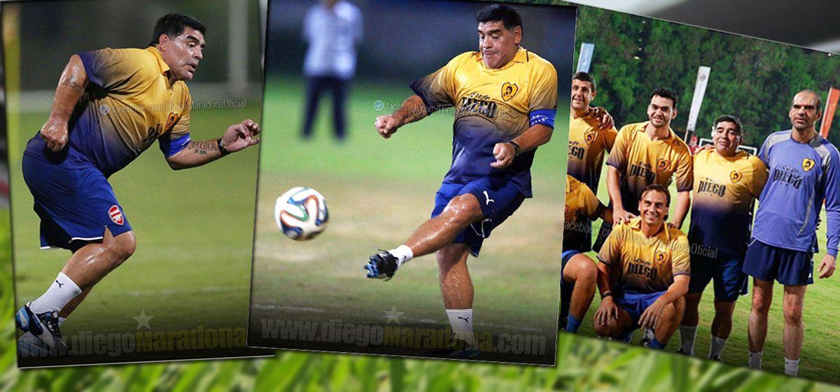 ¡Brindemos! Diego Armando Maradona volvió al fútbol