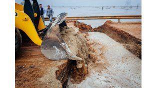 Colocaron piedras calcáreas provenientes de la zona de Diamante. Foto DPV.