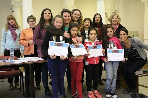 Las creadoras de La Historia de Amadeo el año pasado en el Ministerio de Educación de la Nación. Foto 188 Escuela Bazán y Bustos.