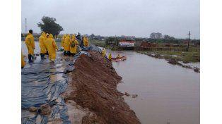 En Gualeguay. Trabajaron en la defensa costera; el río en Puerto Ruiz llegó ayer a los 5