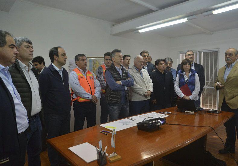 El presidente Mauricio Macri  hoy en Rafaela habló de catástrofe ambiental . Foto Télam.