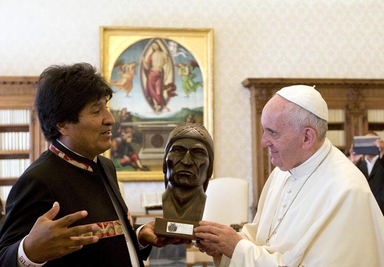 Evo Morales visitó al Papa Francisco.  Foto: Télam