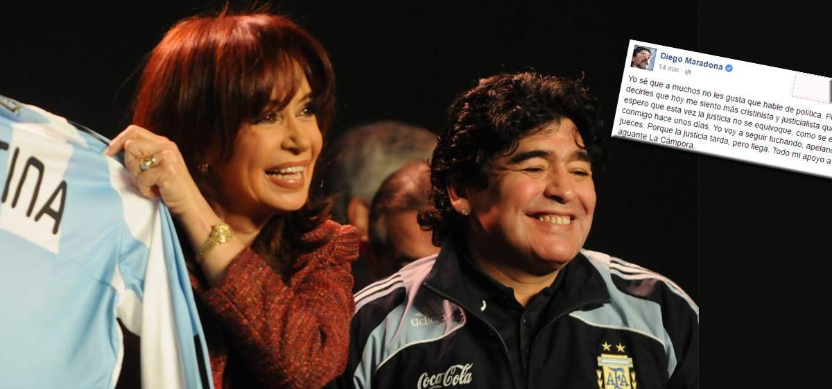 """Diego Maradona: """"Quiero decirles que hoy me siento más Cristinista y justicialista que nunca"""""""
