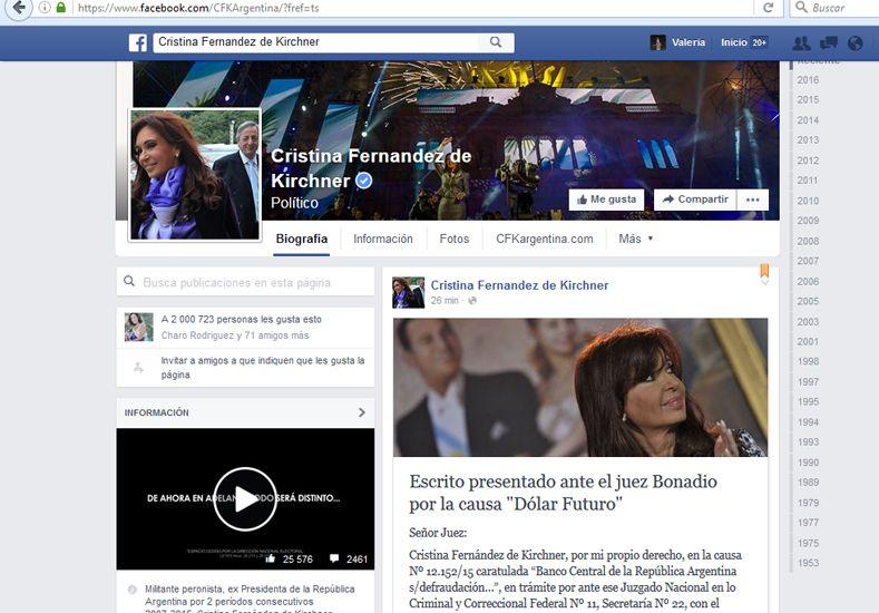 Cristina Fernández de Kirchner publicó su escrito en Facebook