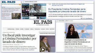 Diarios del mundo se hicieron eco de la imputación de Cristina
