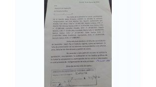 Nota bien clara. La nota que presentaron en Personería Jurídica para dejar asentado su reclamo ante las autoridades.