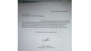 La nota que reenvió Cristian Schreiner a los trabajadores entrerrianos.