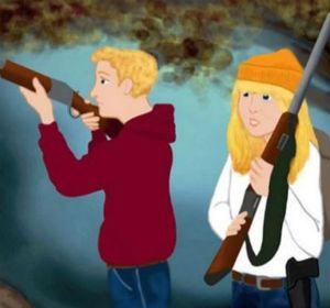 Hasel y Greteel usan escopetas en la nueva versión del cuento infantil.
