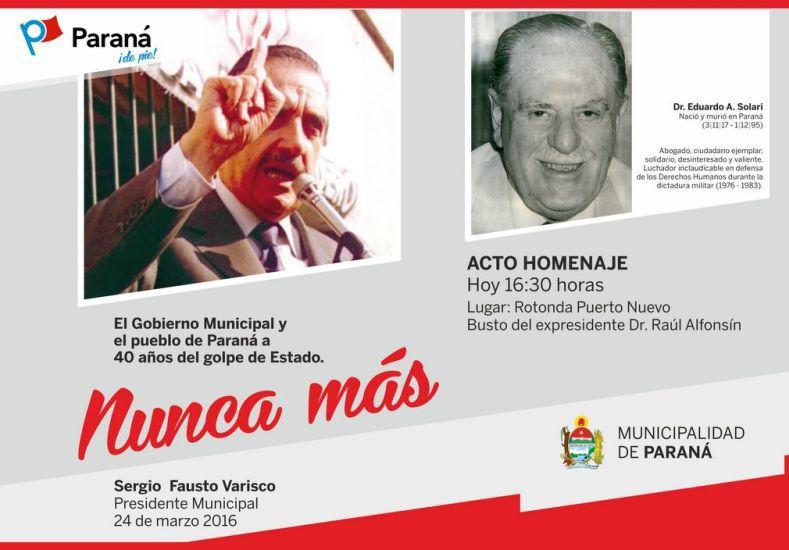 El acto municipal por los 40 años del Golpe se realizará junto al busto de Alfonsín