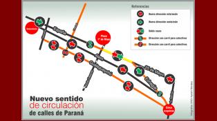 Se conocieron más cambios de circulación de calles en el centro de Paraná