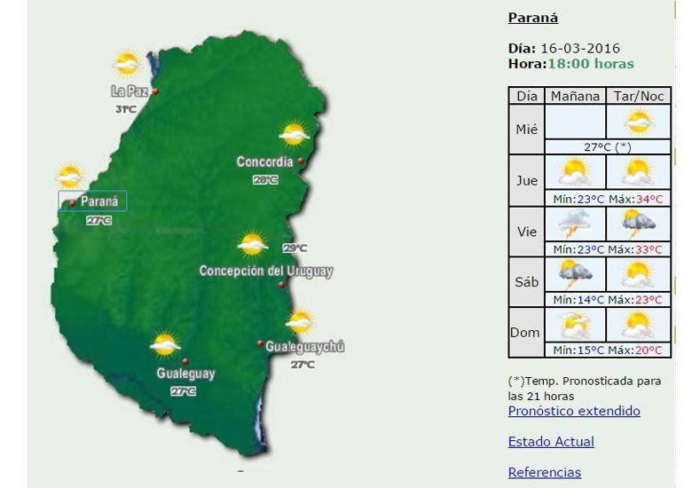 Jornada calurosa con elevada sensación térmica y una máxima de 34 grados