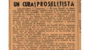 Un recorte da cuenta del pedido del cura Gaspar Pedro Schaab para que los electores no elijan las boletas de candidatos comunistas y socialistas.