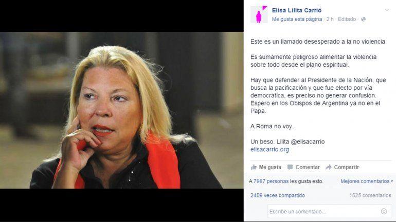 Elisa Carrió cuestionó al papa Francisco por su gesto con Milagro Sala
