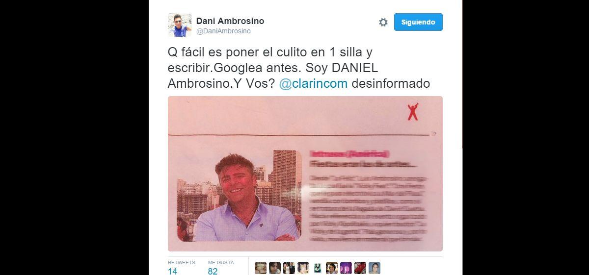 La bronca de Daniel Ambrosino en Twitter por un recuadro de Clarín...