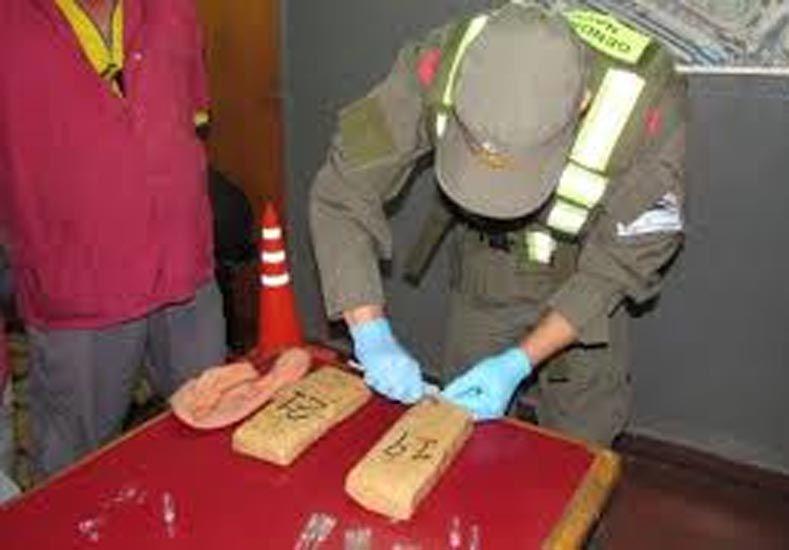 Oculta. Gendarmería encontró la droga en un bolso.