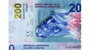 Se modificará la ballena de los billetes de doscientos
