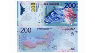 Un error en la ballena del nuevo billete de 200 pesos generó burlas