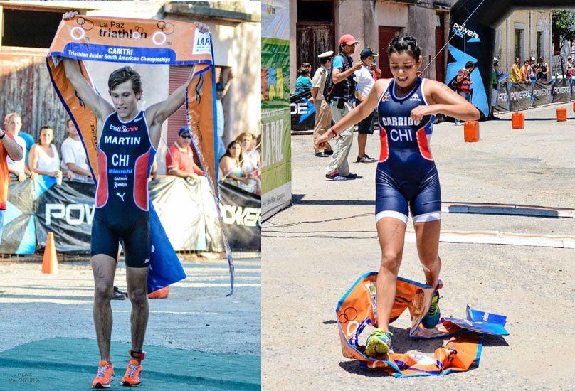 Martin y Garrido se llevaron los aplausos en el inicio del Triatlón Internacional de La Paz. (Fotos: Prensa Triatlón de La Paz)